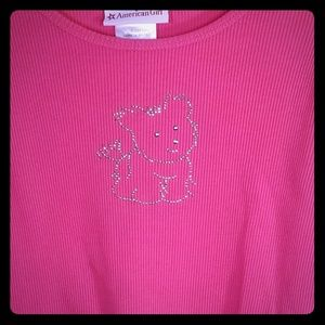 American Girl hot pink cotton ribbed girls top